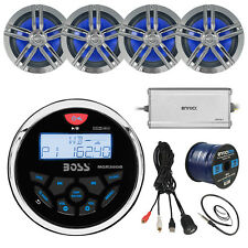 "Bluetooth Receiver, 4x 6.5"" Speakers, Amp, 50Ft Wire, Antenna, USB Aux Interface"