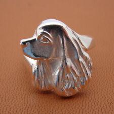 Sterling Silver Cocker Spaniel Head Study Ring