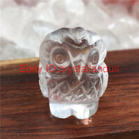 Natural carved quartz crystal skull clear quartz Owl skull stone reiki Healing