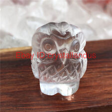 Natural carved quartz crystal skull clear quartz Owl skull stone reiki Healing