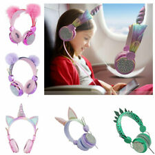 Girls Kids Unicorn Headphones-Over Ear Headwear Wired Headset Stereo Headset UK