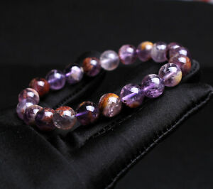 9.1mm Natural Brazil Amethyst Ghost Quartz Crystal Beads Bracelet