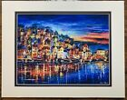 Seaside+Village+Wharf+Abstract+Colorful+Art+Oil+Painting+Matted+Artwork+Print