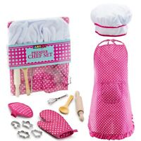Complete Kids Cooking & Baking set-11 Pcs-Apron for little girl Chef Hat costume