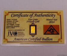 1 Goldbarren mit 0,324 Gramm + Zertifikat (999,9 Gold Barren Münze Geschenk)