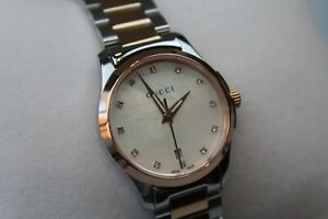 Gucci YA126544 G-Timeless Diamond Mother of Pearl Dial Two-Tone Ladies Watch