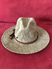 Walt Disney World Adult Straw Hat Leather Band Wide Brim Mickey Emblem