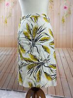 Tory Burch  Womens Leaf Floral Print Cotton Silk Skirt Cream Gold Size 2