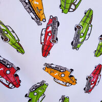 """CLASSIC CARS PRINT WHITE FLANNEL COZY WINTER FLANNEL FABRIC 45"""" BY THE YARD"""