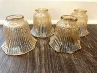 4 Vtg Iridescent Amber Beaded Hobnail Ruffled Carnival Glass Light Globes Shades