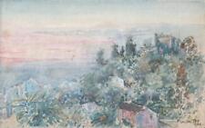 Paisaje en Menton Riviera francesa Acuarela Pintura 1924 impresionista