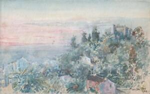 LANDSCAPE AT MENTON FRENCH RIVIERA Watercolour Painting 1924 IMPRESSIONIST