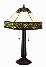 """Tiffany Style Stained Glass White Alhambra Table Lamp 16"""" Shade  2 Light New"""