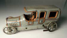 Vintage George Fischer Tin Litho Windup Penny Toy Sedan - Touring Car Limousine