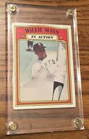 1972 TOPPS WILLIE MAYS IN ACTION #50 In Lucite Screw Down Holder San Francisco
