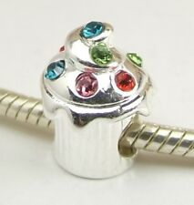 Crystal Cupcake Bead Cup Cake Large Hole Slider for European Charm Bracelet