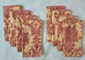 8 Waterford Rose Gold Jacquard Damask Napkins Hollywood Regency Cotton Blend