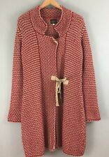Avoca red long chunky knit cardigan Size 4 14/16 Tie front With wool & Alpaca