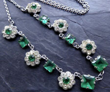 vintage art deco clear & green rhinestone silver t. daisy flower necklace C481