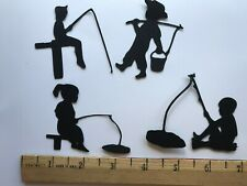 12 Die Cut Punch Silhouettes of Children Fishing Embellishments Scrapbook Cards