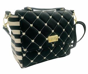 Luv Betsey Johnson Black Heart Minimalist Crossbody Bag Front Flap Top Handle