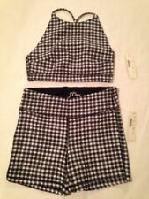 J Crew Size Extra Extra Small XXS Gingham Cropped Halter Bikini Swimsuit New 122