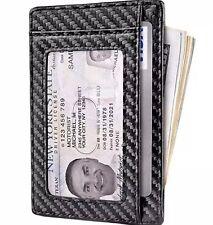 Front Pocket Minimalist Carbon Fiber Slim Wallet RFID Blocking Credit Card