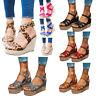 Women Ankle Strap Buckle Sandal Wedge Platform Heels Leopard Summer Casual Shoes