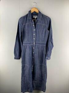 Trenery Womens Blue Long Sleeves Limited Edition Long Denim A Line Dress Sz 6