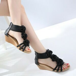 Summer Womens Roman Ankle Strap Zip-up Peep Toe Sandals Wedges Mid Beach Shoes