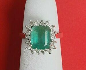Solid 14K White Gold Natural Emerald Cut EMERALD DIAMOND HALO Ring