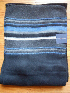 Black Tommy Hilfiger Striped Winter Scarf with tags