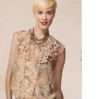 CAbi #837 Flashback Ruffle Sheer Top Womens XS Printed Semi Sheer Sleeveless
