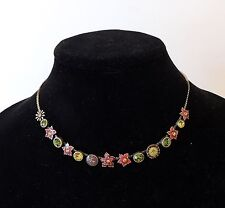 PILGRIM of  DENMARK Wine Enamel/Citron Crystal  Necklace with Adj Chain