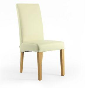 Lederstuhl Bambi Leder Creme Weiß Beine Eiche gebeizt Besucherstühle Stühle