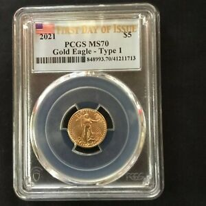 2021 1/10 oz American Gold Eagle MS-70 PCGS (First Day of Issue) - SKU#848993.70