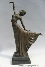 "16""Western Art sculpture Bronze Marble Belle Women  Dancing girl Ballet Statue"
