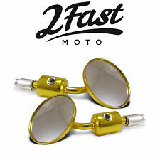 Universal Bar End Mirrors 7/8 Gold Motorcycle Cafe Racer Bobber Chopper BMW