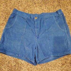 "Vintage 80s WINDRIDGE Corduroy Shorts 4"" BLUE Beach Surf OP Style Mens Sz 38"