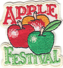 """APPLE FESTIVAL"" PATCH/Iron On Embroidered Applique/Fruit, Dessert, Event"