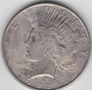 Genuine Silver USA Liberty / Peace One Dollar Coin 1922 - Nice Condition  t10