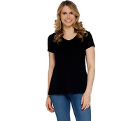 Isaac Mizrahi Live! V-Neck Essentials Pima Cotton Top (Black, 2XS) A307536