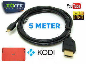 5m Long Micro HDMI to HDMI Cable Lead for Tesco Hudl 1 & Hudl 2 HDTV 1080P