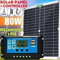 Kit panneau solaire 80W Chargeur batterie 12V 20A Contrôleur LCD Caravan Van DE