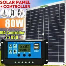 80W Solar Panel kit 12V battery Charger 20A LCD Controller Caravan Van Boat RV