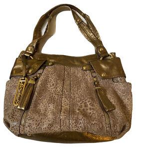 B. Makowsky Large Hobo Leather Bronze Brown Metallic Snake Print Bag EUC !