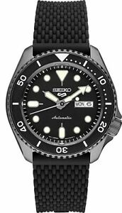NEW Seiko 5 Five SRPE23 Automatic Watch 100 Meter Black Rubber Strap Box & Paper