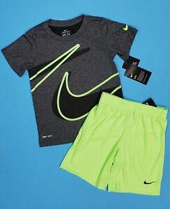 *NEW* NIKE Boy's Shirt & Shorts 2 Piece Set Gray & Lime Blast Size 5/6