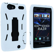 White / Black Hybrid Case Cover with Kick Stand for Motorola Droid Razr XT912