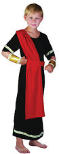 BOYS CAESAR ROMAN GREEK TOGA IN BLACK FANCY DRESS COSTUME